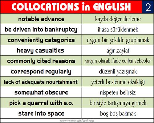 İngilizce Kelime Öğrenme Tekniği - Collocations in ENGLISH-2
