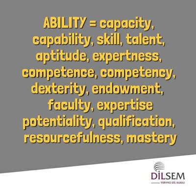 ability ile aynı ya da yakın anlamlı kelimeler