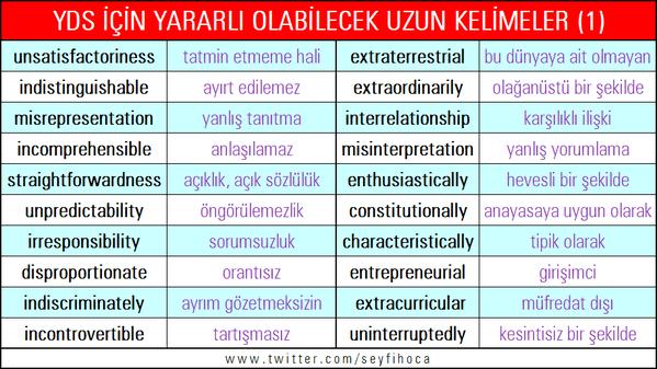 YDS için yararlı olabilecek uzun kelimeler (1)